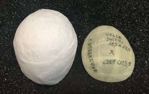 A photo of Sheri Valle's custom mold and the film used during the application process. (Photo courtesy Transitions Hair Solutions)