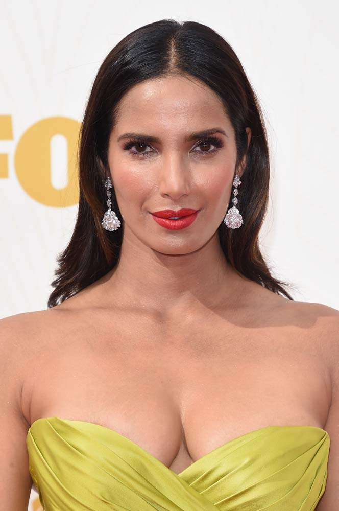 LOS ANGELES, CA - SEPTEMBER 20: Actress Padma Lakshmi attends the 67th Annual Primetime Emmy Awards at Microsoft Theater on September 20, 2015 in Los Angeles, California. (Photo by Jason Merritt/Getty Images)